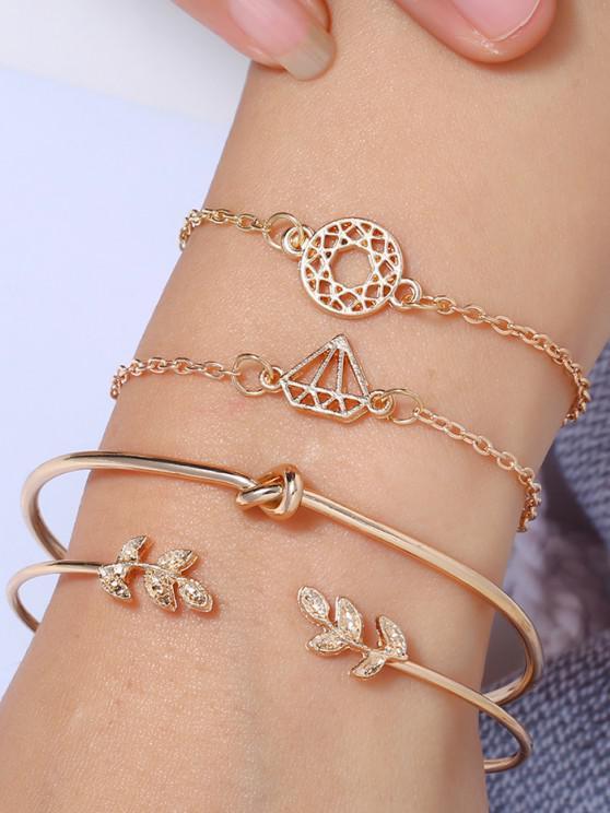 4Pcs Leaf Diamond Shape Bracelet Set - ذهبي