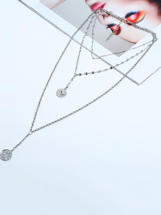 Eye Pattern Coin Layered Necklace - فضة