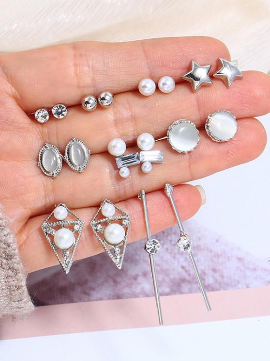 Conjunto de Pendientes Geométricos de Perlas de Imitación de 9 Pares - Plata