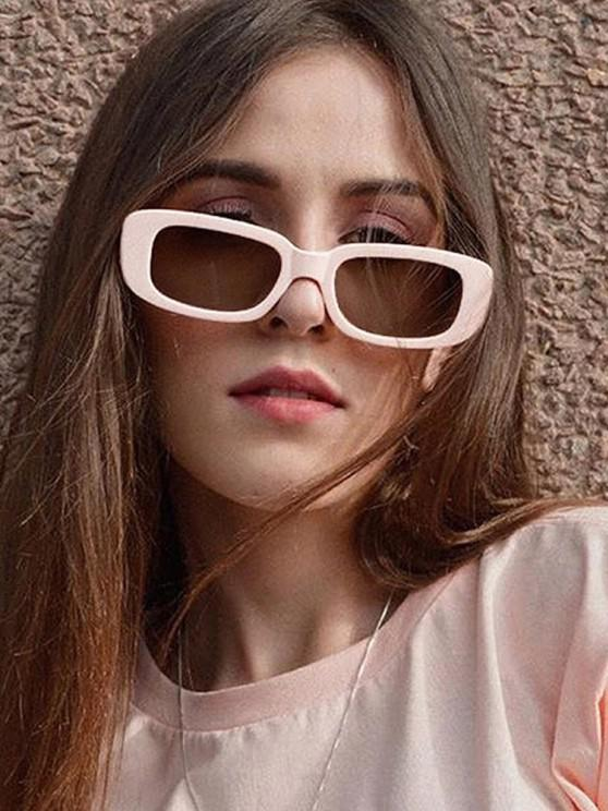 fashion Retro Rectangle Frame Wide Arm Sunglasses - MILK WHITE
