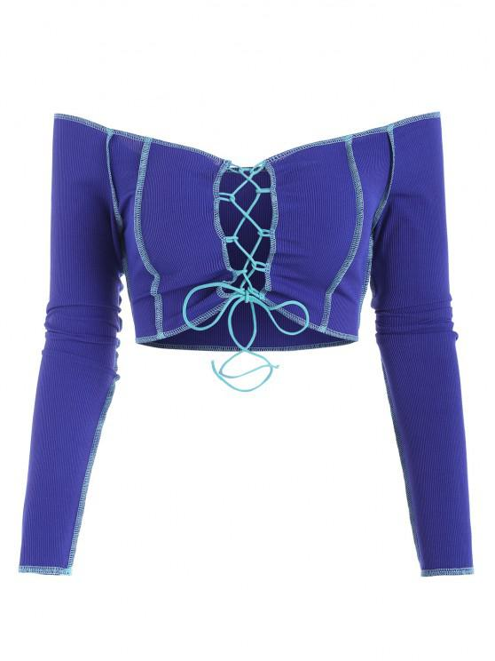 outfit Cropped Off The Shoulder Ribbed Lace-up Topstitching Pully Top - BLUE XS