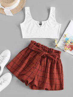 ZAFUL V Notched Grid Paperbag Shorts Set - Red S