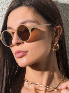 Runde Sonnenbrille Mit Rahmen Detail UV Schutz - Beige
