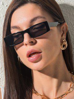 Slim Rectangle Frame Wide Arm Decorative Sunglasses - Black