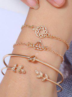4Pcs Leaf Diamond Shape Bracelet Set - Golden