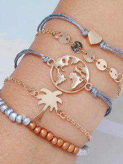5Pcs Map Heart Beads Bracelet Set - Golden