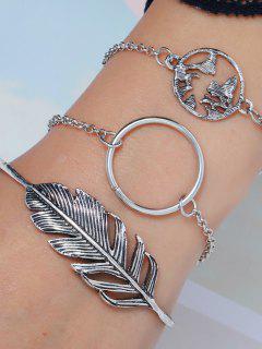3Pcs Feather Hollow Map Bracelet Set - Silver