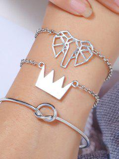 3Pcs Geometric Elephant Crown Bracelet Set - Silver