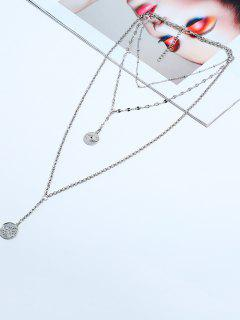 Eye Pattern Coin Layered Necklace - Silver