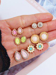 6 Pairs Gemstone Earrings Set - Multi-a