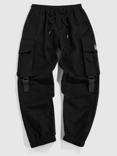 ZAFUL Pantalones De Carga Plain Con Parche De Letras - Negro Xxl