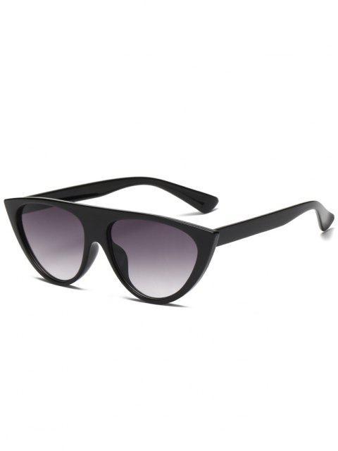 Semi Schiere Kreis Rahmen Flacher Spitze Sonnenbrille - Schwarz  Mobile
