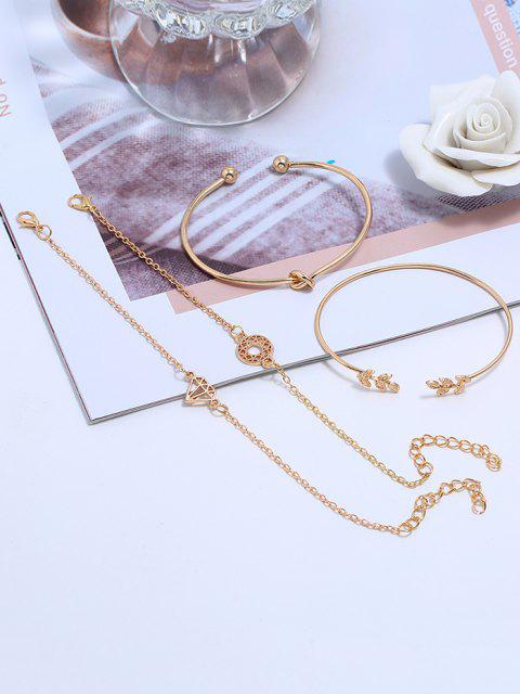 4pcs Blatt Diamantform Armband Set - Golden  Mobile