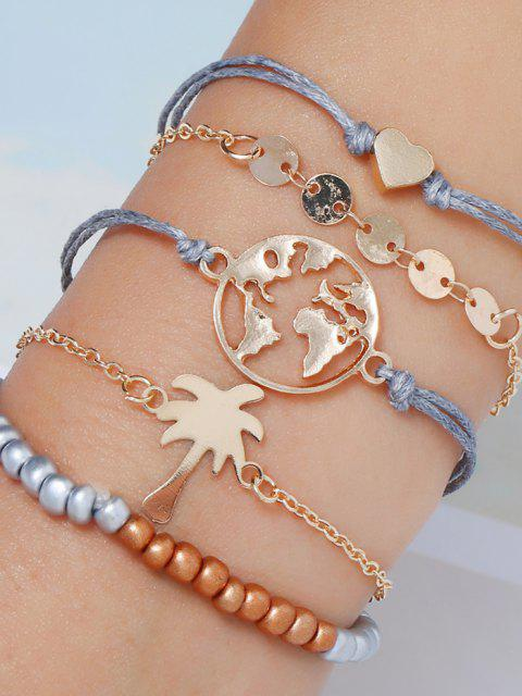 5pcs Karte Herz Perlen Armband Set - Golden  Mobile