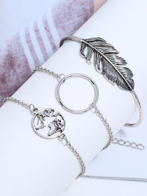 3pcs Feder Hohlen Karte Armband Set - Silber  Mobile