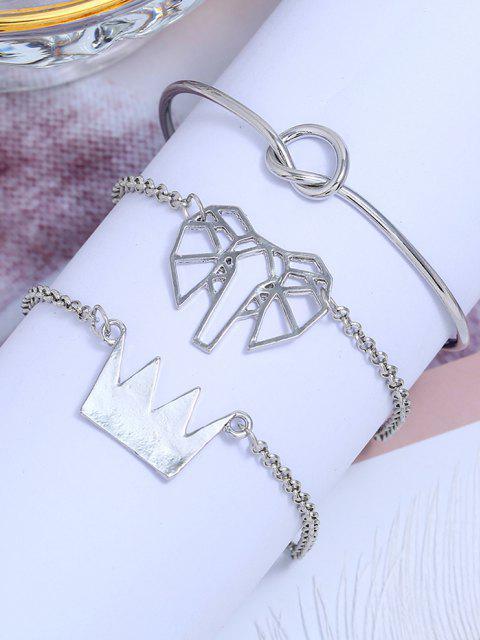 3Pcs Geometrische Elefant Krone Armband Set - Silber  Mobile