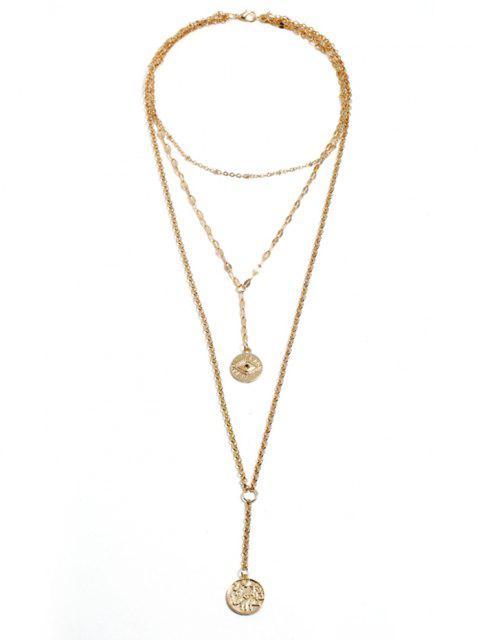 Augenmuster Münze Geschichtete Halskette - Golden  Mobile