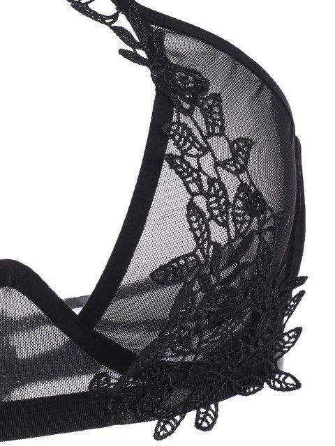 sale Monowire Choker Lace Patched Garter-slip Lingerie Set - BLACK XL Mobile