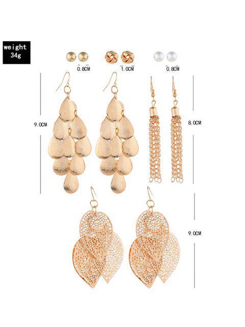 6 Paar Böhmische Quaste Blattknopf Ohrringe Set - Golden  Mobile