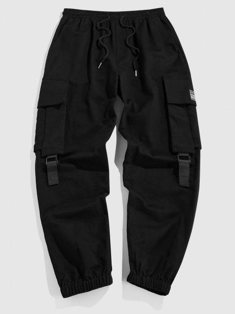 ZAFUL Pantalones de Carga Plain con Parche de Letras - Negro XXL Mobile