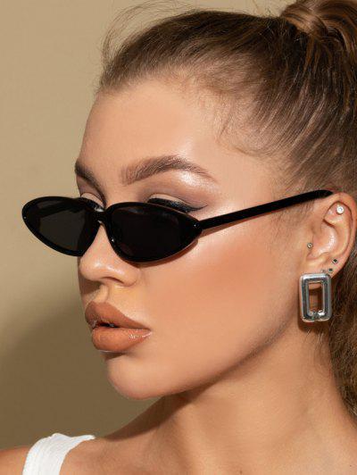 Retro Triangle Frame Slim Decorative Sunglasses - Black