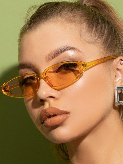 Retro Triangle Frame Slim Decorative Sunglasses - Bee Yellow