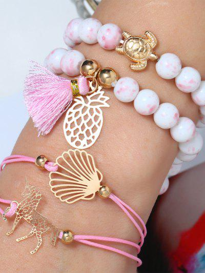 Conjunto Pulsera Perlas Ahuecado - Rosa Claro