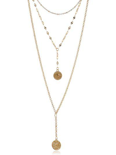 Eye Pattern Coin Layered Necklace - Golden