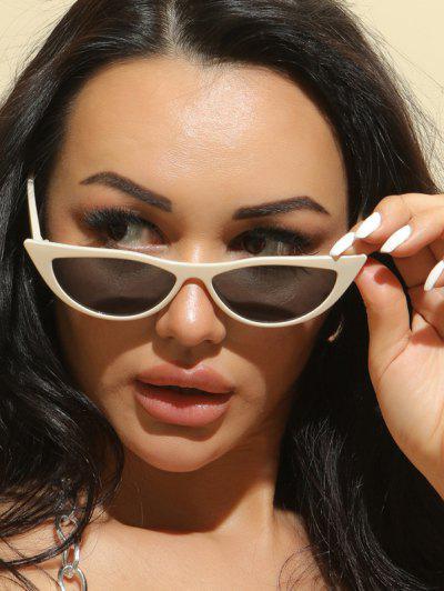 Retro Slim Eye Frame Lightweight Sunglasses - Beige