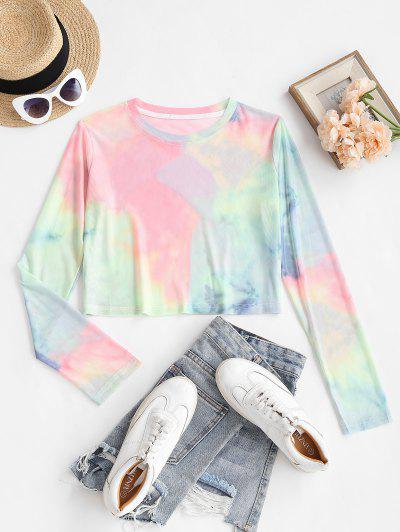 Tie Dye Mesh Crop T Shirt - Multi