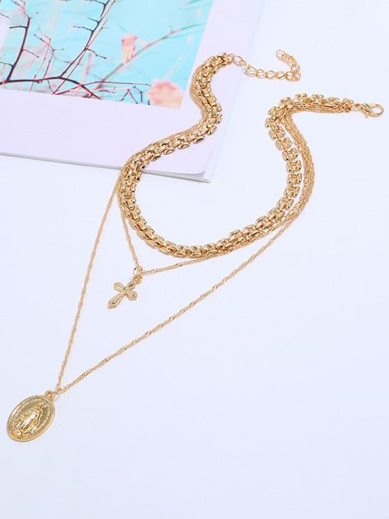 Tri-Layered Cross Coin Pendant Necklace - ذهبي