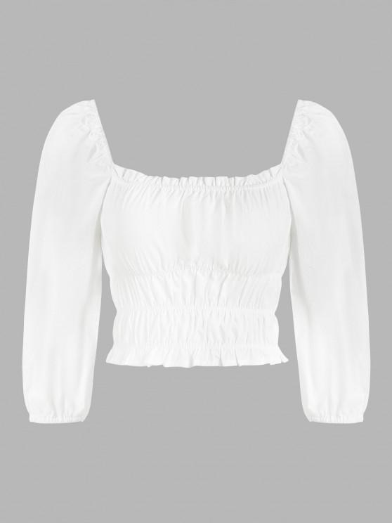 shop Ruched Puff Sleeve Frilled Trim Milkmaid Blouse - WHITE S
