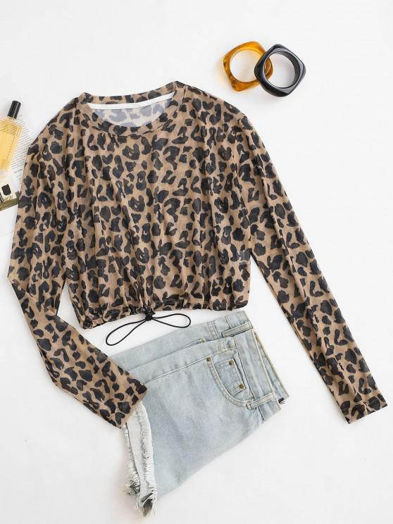 shop Leopard Mesh Toggle Drawstring Crop T Shirt - DEEP COFFEE ONE SIZE