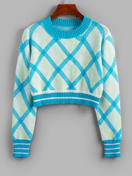 ZAFUL Argyle Gerippter Trim Crop Pullover - Blau L