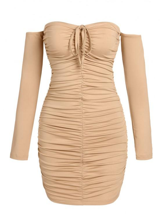 chic ZAFUL Ruched Off The Shoulder Mini Bodycon Dress - LIGHT COFFEE XL
