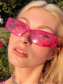 Rounded Rectangle Transparent Sunglasses - Rose Red