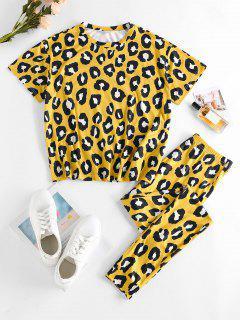 ZAFUL Lounge Leopard Pajamas Top And Pants Set - Deep Yellow Xl