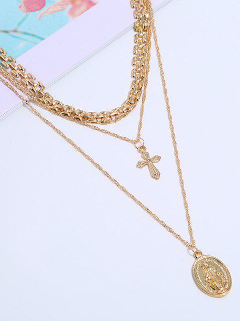 Tri Geschichtete Kreuz Münze Anhänger Halskette - Golden  Mobile