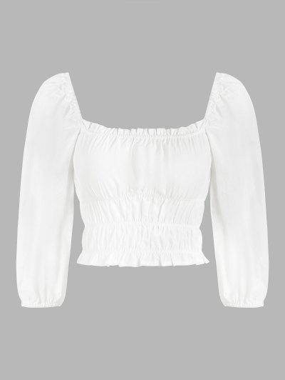 Ruched Puff Sleeve Frilled Trim Milkmaid Blouse - White S