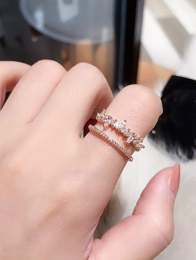 Double Layer Rhinestone Leaf Open Finger Ring - Rose Gold Resizable