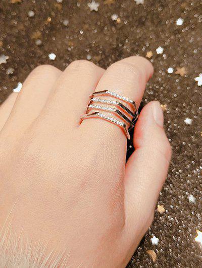 Multi-Layered Rinestone Inlaid Geometric Open Ring - Rose Gold Resizable
