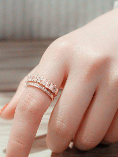 Sparkle Zircon Inlaid Hollow-Out Open Ring - Rose Gold Resizable