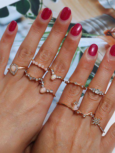 10 Pcs Rhinestone Embellished Finger Ring - Golden