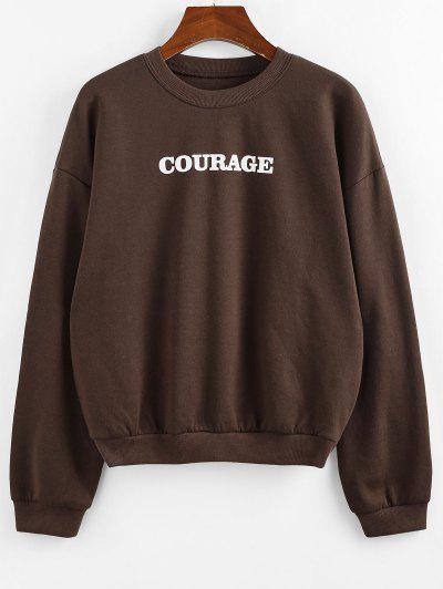 ZAFUL Drop Shoulder Courage Graphic Pullover Sweatshirt - Deep Coffee Xl