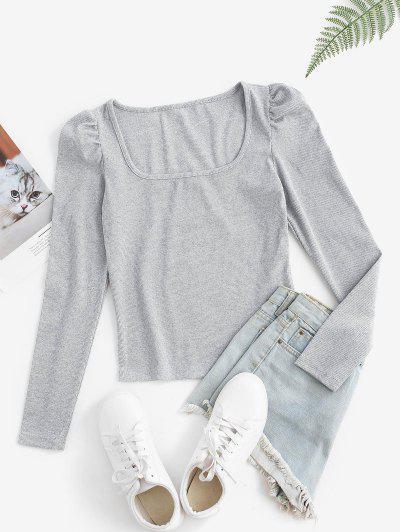 U Collar Rib-knit Puff Sleeve Marled Top - Light Gray