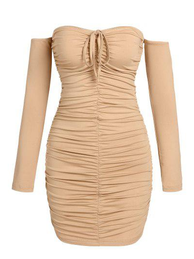 ZAFUL Ruched Off The Shoulder Mini Bodycon Dress - Light Coffee M