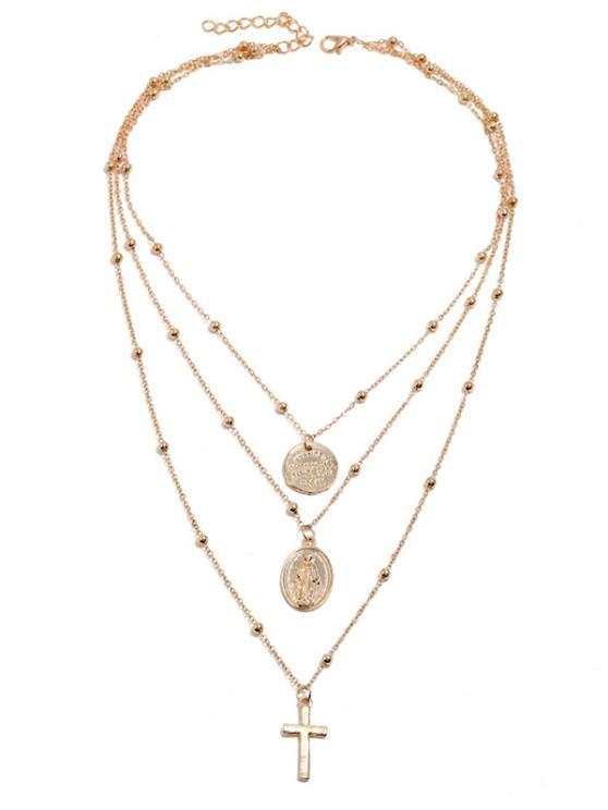 Kreuz Scheibe Perlen Geschichtete Anhänger Halskette - Golden