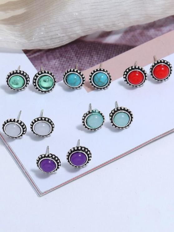 6 Pair Round Colorful Stone Stud Earrings - متعددة-A