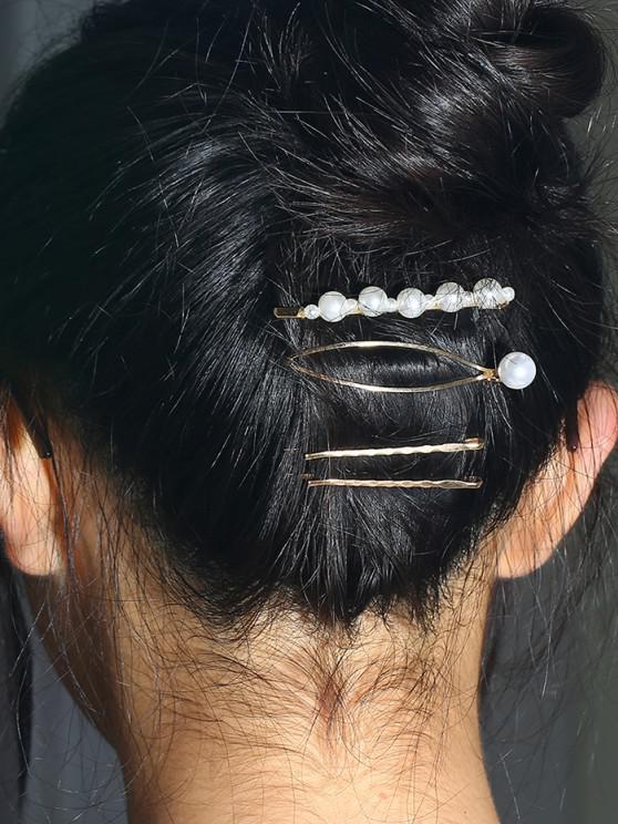 4 Pcs Faux Pearl Cut Out Hair Pins - ذهبي