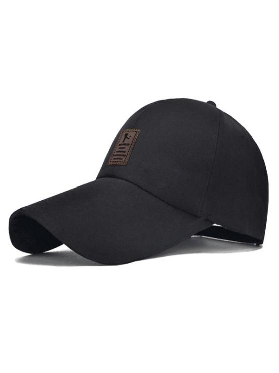 hot Patch Sun Protection Canvas Baseball Cap - BLACK